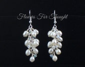 Freshwater Pearl Cluster Earrings, FFT design, Bridal Dangle Wedding Jewelry Pearls Crystals Made to Order