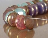 Mixed Opal Drop Lentil Czech Glass Beads 12mm 10 Pcs