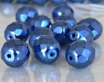 Carmen Blue, Czech Glass Beads, Fire Polished, 10mm Faceted, 12