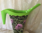 Hand Painted Watering Can by MontanaRosePainter, Turquoise Pitcher, Pink Roses, Unique and Patio Worthy