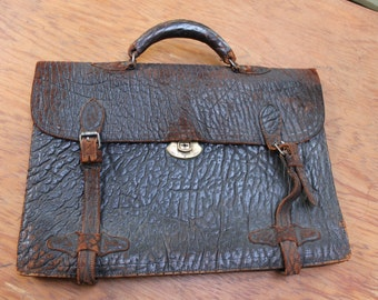 Leather Briefcase Old rustic well used Worn Distressed VINTAGE by Plantdreaming