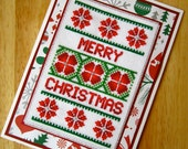 Floral Handmade Christmas Cross Stitch Greetings Card in Red and Green (#250)