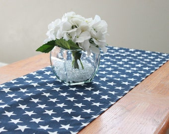 SHIPS NOW Blue star table runner, Choose length, Patriotic table runner, Fourth of July, July 4th decoration, patriotic