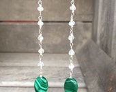 Malachite and Moonstone Sterling Silver Dangle Earrings