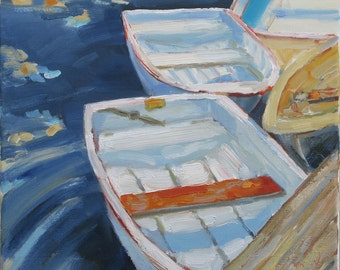 Day Dreamers, original oil painting on stretched canvas by Yvonne Wagner. Row Boats. Boats. Sailor. Nautical 12 x 12 (30 x 30 cm.)