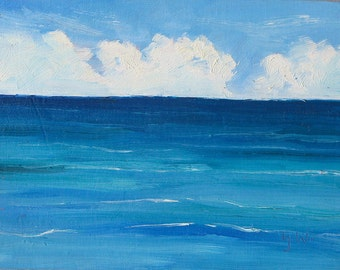 Unwind, 6 x 8 inch (15 x 20 cm ) oil painting on canvas board by Yvonne Wagner.  Meer. Mer. See. Caribbean. Ocean. Sea. Free Shipping to USA
