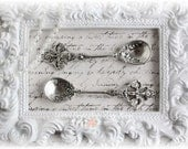 Shabby Chic Silver Spoons Charms Set of 2 for Scrapbooking, Card Making, Tag Art, Altered Art, Mixed Media