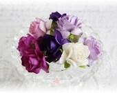 Mulberry Wild Roses~Purples~ Set of 10 for Scrapbooking, Cardmaking, Altered Art, Wedding, Mini Album