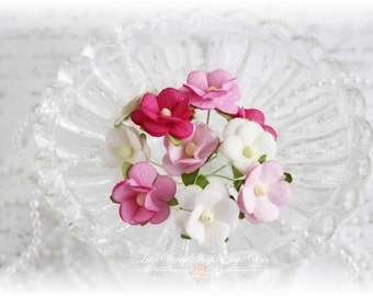 Mulberry Flowers~Sweetheart  Blossoms Pinks~ Set of 10 for Scrapbooking, Cardmaking, Altered Art, Wedding, Mini Album