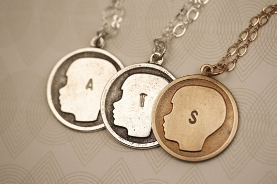 RESERVED - 3 Girl Silhouette Pendants with Personalized Stamped Initial Letters