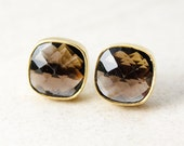 FLASH SALE - Gold Smokey Quartz Cushion Studs - Gold Plated
