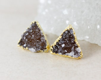 Earthy Triangular Druzy Studs - Choose Your Druzy - 14K Gold Fill