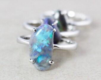 50% OFF SALE - Blue Opal Rings - Australian Opals - Silver