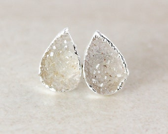 Dreamy Vanilla Druzy Studs - Teardrop, Choose Your Colour - Silver