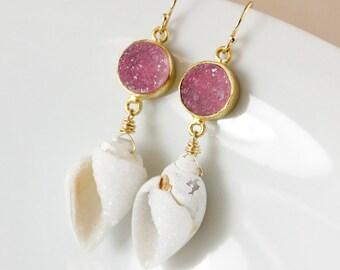 Gold Pink Druzy & Fossilized Sea Shell Earrings - Statement Earrings