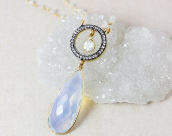 White Opalite Teardrop Necklace – Pave White Topaz – Rainbow Moonstone Beaded Chain