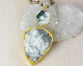 50% OFF SALE - Moss Druzy and Moss Agate Necklace – Black Pyrite Chain