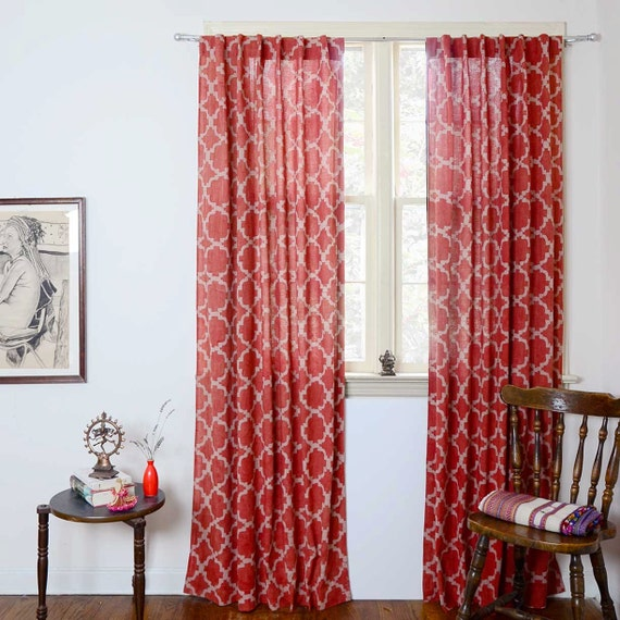 Red Window Curtain Panels Sale: Curtains Red Drapes Geometric Panel Ogee Lattice Curtains Home