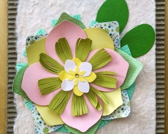 Light Pink Paper Flower Greeting Card