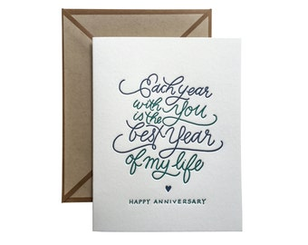 Each Year With You happy anniversary letterpress card