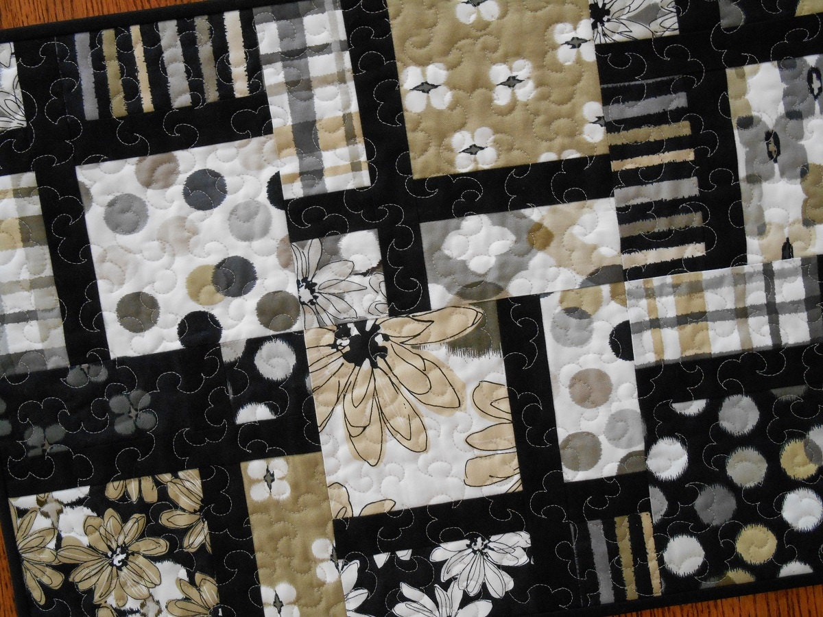 Modern Table Runner In Black Tan And Grey Quilted Table