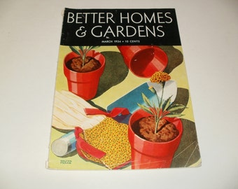 Vintage Better Homes and Gardens Magazine March 1934 - Spring Planting Cover, Retro 1930s Collectible, Art, Vintage Ads, Paper Ephemera