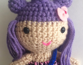 Crochet doll, purple hair, Handmade doll, soft toy, ready to ship doll, holiday doll