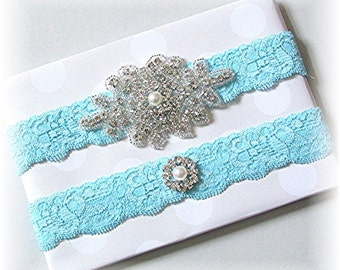 Pool Blue Wedding Garter Set - Bridal Garter Set - Keepsake and Toss Stretch Lace Garter Set With Rhinestones, Pearls - Wedding Garter Belt