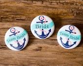 Nautical Pins, Bachelorette Party, Anchor Buttons, Navy and Aqua, Beach Wedding Favor, Nauti Bride Badge, Bride's Crew, Bridal Shower Button
