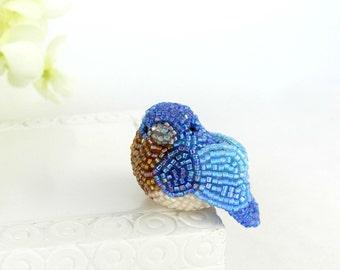 Bluebird Miniature Figurine Beaded Eastern Bluebird Animal Totem *READY TO SHIP