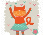 Fine art print illustration for nursery or kids room featuring an orange cat - 8,2x11,7 in
