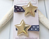 Navy And Gold Star Hair Clips, Girls Patriotic Hair Clips, Nautical Hair Clips, July 4th Hair Clip, Gold Star Hair Clips, Girl's Star Clips