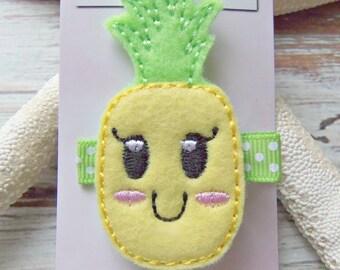 Pineapple Hair Clip,Tropical  Pineapple Hair Clip, Girls Pineapple Hair Clip, Beach Hair Clip, Happy Face Pineapple Hair Clip,Pineapple Clip