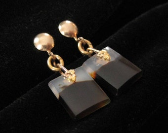 Gold Filled Agate Earrings, Genuine Agate Stones