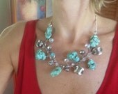 Statement Necklace, Bib, Turquoise, Wedding Jewelry, Modern, One of a Kind, Blue