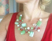 Statement Necklace, Wire, Metal, Green, Red, White, Modern, Contemporary