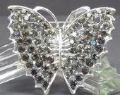 Black Diamond Butterfly Rhinestone Brooch Vintage 1950s Figural Butterfly Broach
