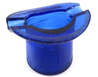 Cobalt Blue Top Hat Ashtray Vintage 1930s 1940s Blue Glass Hat