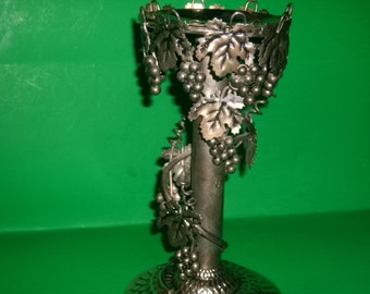 Ornate Grape and Grapevine Pillar Metal Candle Holder/ REDUCED