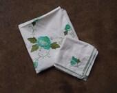 Vintage Tablecloth and Napkins Hand Stitched Applique Cotton White Green Aqua