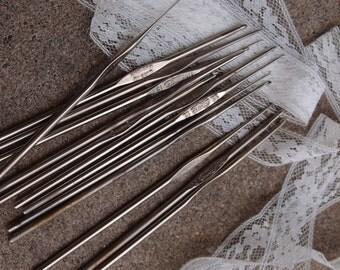 Vintage Crochet Needles Destash Lot Set 14 Doilies Doily Crocheting Lace Supplies Stainless Steel Size 00 0  1 2 4 5 6 7 9 10 11 12 13 14