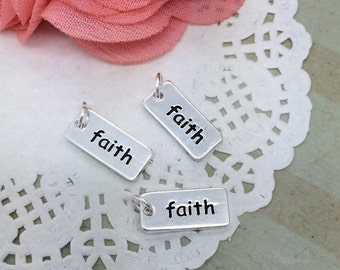 "FAITH charms stamped silver bar Faith charm bead with jump ring tiny petite silver bar stamped faith double sided - 3/4"" long - 15mm x 7mm"