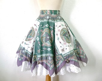 Vintage Cotton Skirt Aztec Native American Handkerchief Eyelet Silver Eagle Medium