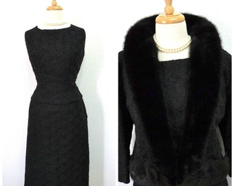Vintage 1950s Suit by THORPE Furs 3-pieces suit Top Skirt and Jacket with Mink Black Soutache Ribbon Cocktail Hourglass Suit