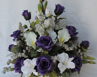Purple Roses White Gladiolus Real touch, latex Calla Lily Silk Flower Floral Arrangement / Centerpiece