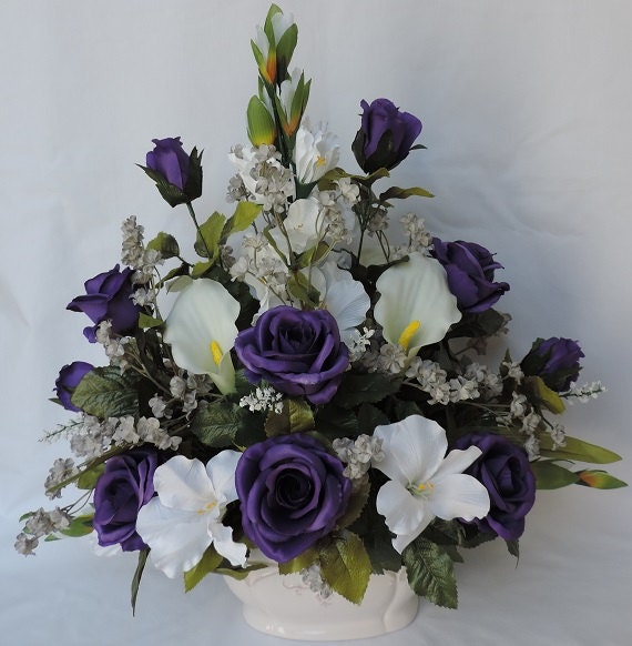 Purple roses white gladiolus real touch calla lily silk