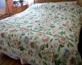 KIng cotton Duvet cover &  2 pillow shams retro  flowers Shabby Cottage Chic on sale