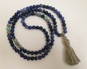 Sodalite Mala Necklace with Labradorite and Turquoise