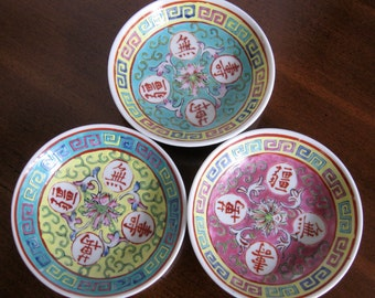Vintage Hand Painted Porcelain Hong Kong Dishes - Set of 3