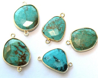 Turquoise Bezel Connector // Faceted Gemstone  Pendant // Gold Plated Setting // Craft Jewellry Supply